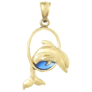14kt Gold 15mm Jumping Dolphin Pendant with Blue Enamel