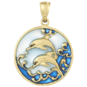 14kt Gold 28mm Dolphins Pendant with Blue Enamel