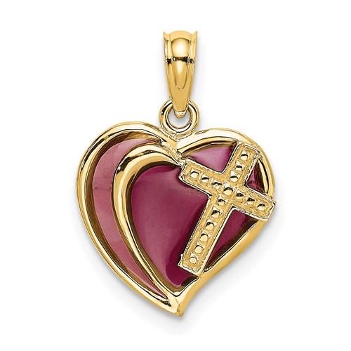 14kt Yellow Gold Cross Heart Pendant with Purple Enamel