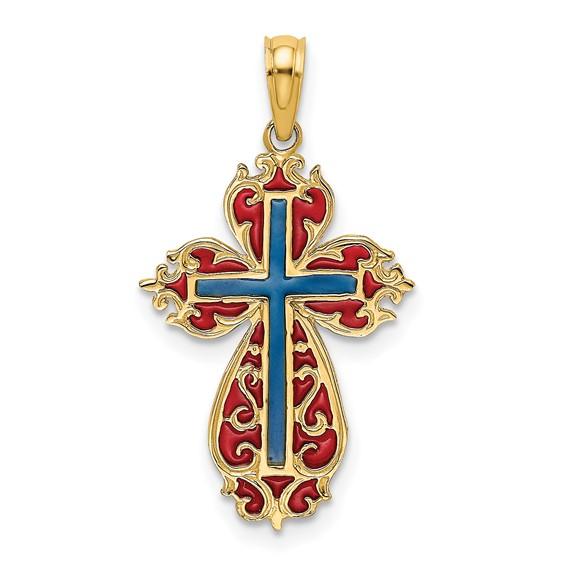 14kt Yellow Gold 7/8in Budded Blue & Red Enamel Cross