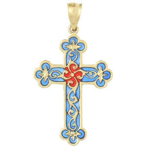 14kt Yellow Gold Translucent Blue & Red Scroll Cross Pendant