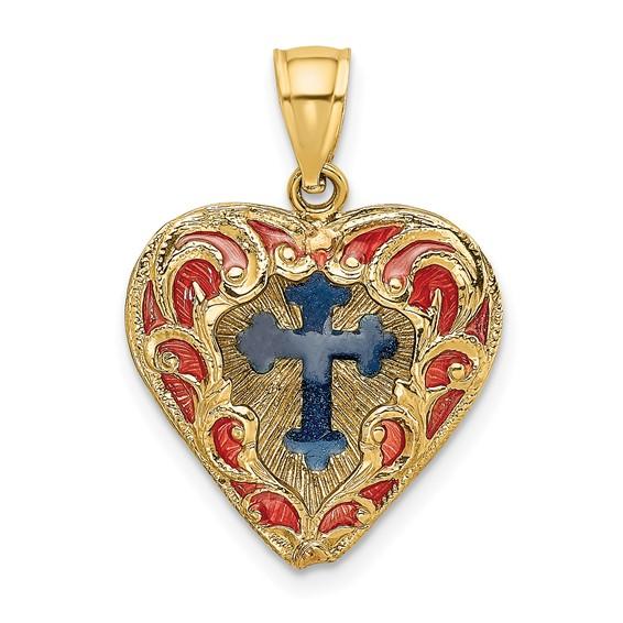 14kt Yellow Gold 5/8in Reversible Enamel Heart Pendant with Cross