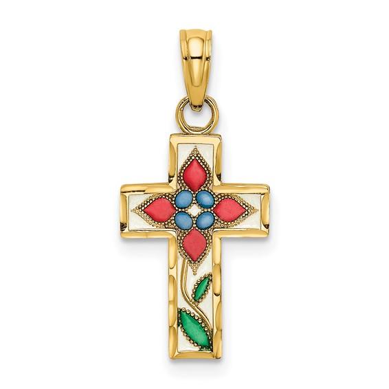 14kt Yellow Gold 5/8in Enamel Flower Cross Pendant