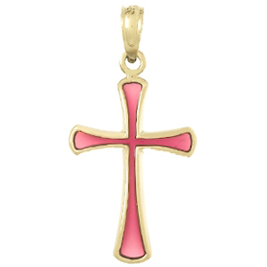 14kt Yellow Gold 5/8in Cross with Pink Translucent Enamel