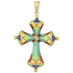 36mm 14kt Yellow Gold Cross Pendant with Multi-Color Translucent Enamel