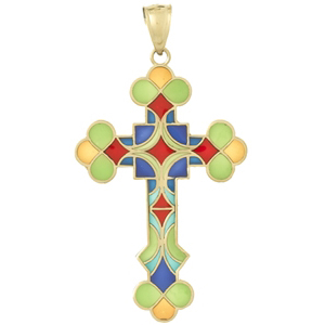 14kt Yellow Gold 1 1/4in Budded Cross Pendant with Translucent Enamel