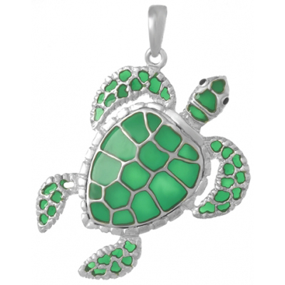 Sterling Silver 1 1/4in Swimming Sea Turtle Pendant with Green Enamel