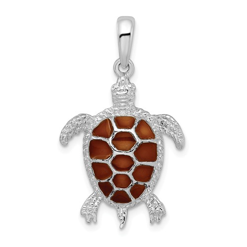 Sterling Silver 1in Sea Turtle Pendant with Orange Enamel