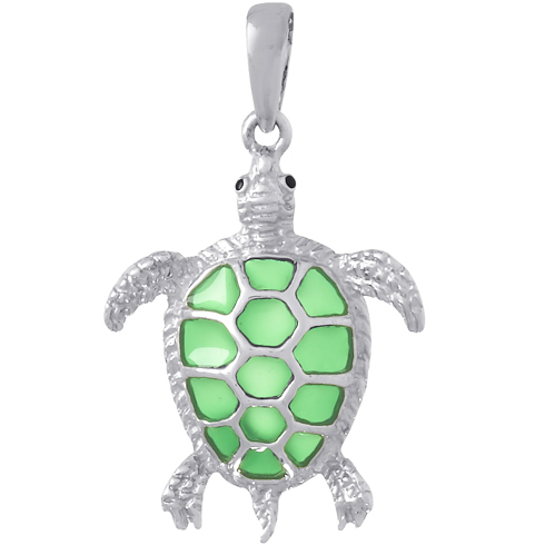 Sterling Silver 1in Sea Turtle Pendant with Green Enamel