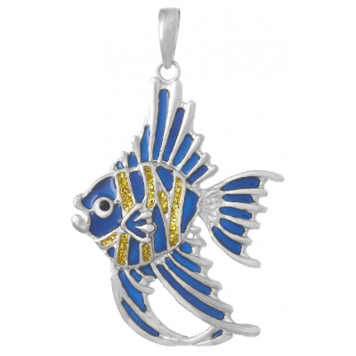 Sterling Silver 1 1/2in Angelfish Pendant with Blue and Gold Enamel