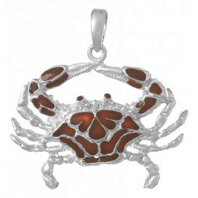 Sterling Silver 1in Crab Pendant with Brown Enamel