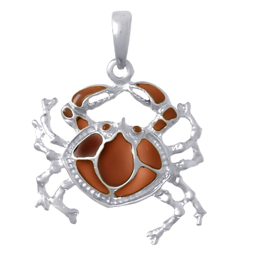 Sterling Silver 28mm Crab Pendant with Brown Translucent Enamel