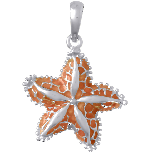Sterling Silver 3/4in Starfish Pendant with Pink Enamel