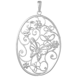 Sterling Silver 50mm Butterfly Cluster Oval Pendant