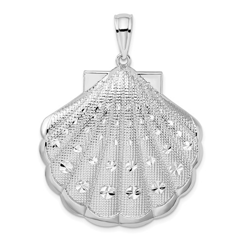 Sterling Silver 1 1/2in Large Scallop Shell Pendant