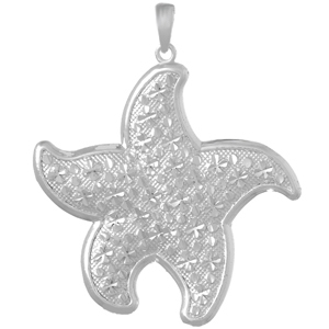 Sterling Silver 1 1/2in Large Textured Starfish Pendant
