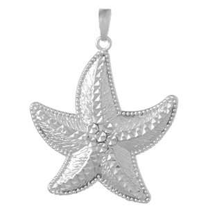 Sterling Silver 1 1/4in Large Starfish Pendant