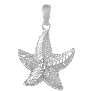 Sterling Silver 3/4in Fancy Starfish Pendant