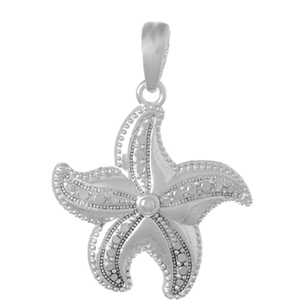 Sterling Silver 3/4in Pinwheel Starfish Pendant