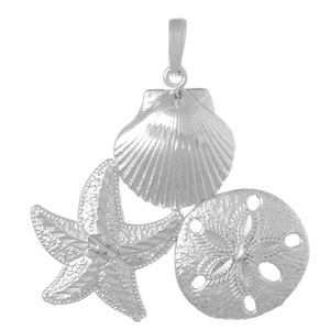 Sterling Silver 1 1/4in Shell Starfish Sand Dollar Pendant