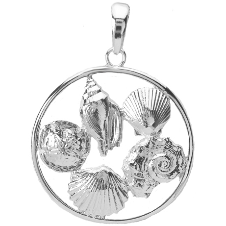 Sterling Silver 1in Five Shell Cluster Pendant