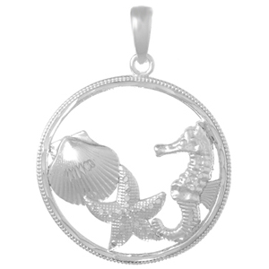 Sterling Silver 33mm Sea Life Cluster Pendant