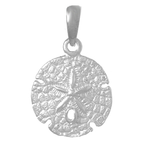 Sterling Silver 1/2in Textured Sand Dollar Pendant