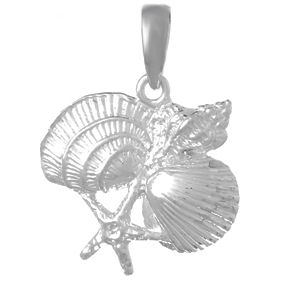 Sterling Silver 5/8in Four Shell Cluster Pendant