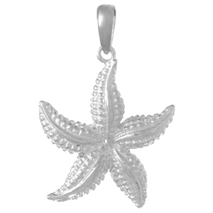 Sterling Silver 7/8in Beaded Starfish Pendant