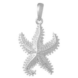 Sterling Silver 3/4in Beaded Starfish Pendant
