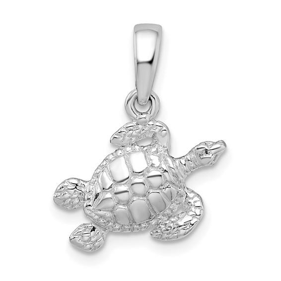 Sterling Silver 22mm Swimming Sea Turtle Pendant