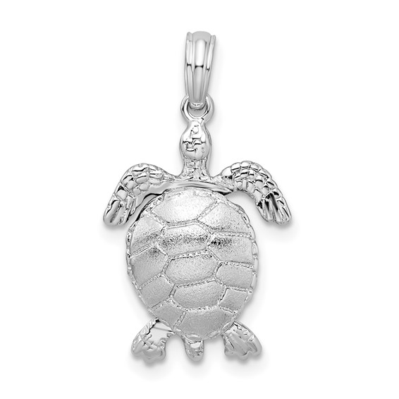 Sterling Silver 3/4in Moveable 3-D Sea Turtle Pendant