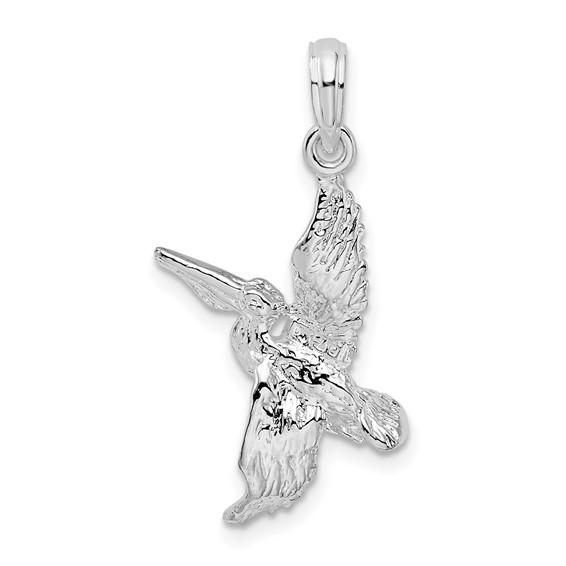 Sterling Silver 1in 3-D Flying Pelican Pendant