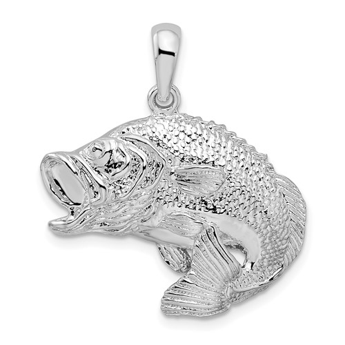 Sterling Silver 3/4in Bass Fish Pendant