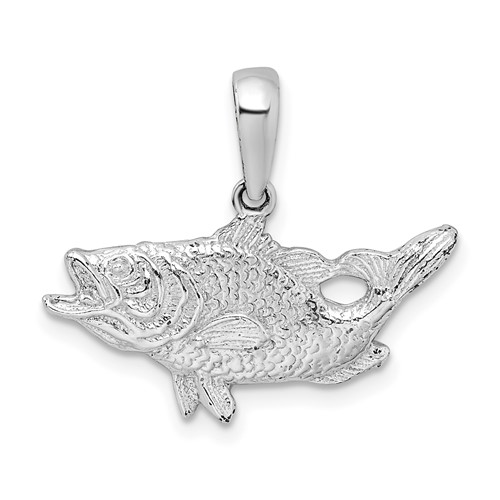Sterling Silver 1/2in Bass Fish Pendant