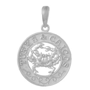 Sterling Silver 3/4in Turks and Caicos Crab Pendant