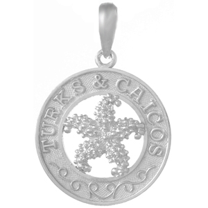 Sterling Silver 3/4in Turks and Caicos Starfish Pendant