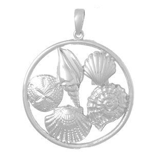 Sterling Silver 1 1/4in Five Shell Cluster Pendant