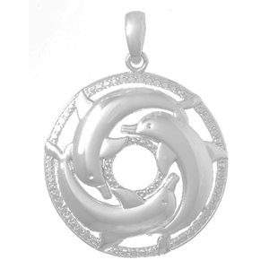 Sterling Silver Dolphin Cluster Pendant
