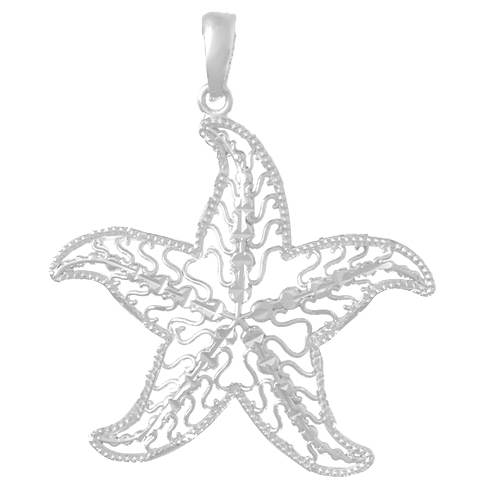 Sterling Silver 1 1/4in Filagree Starfish Pendant