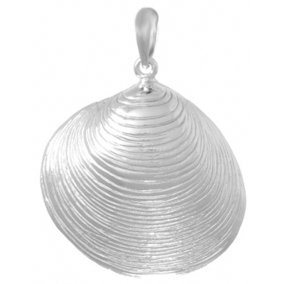 Sterling Silver 1 1/8in Oyster Shell Pendant