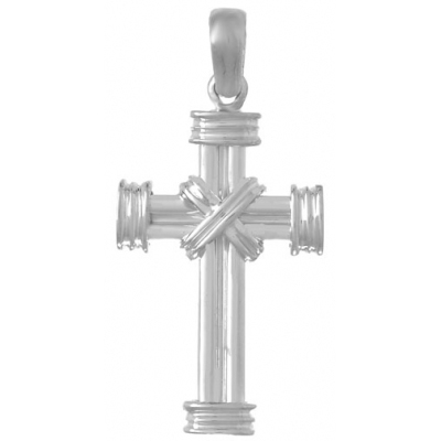Sterling Silver Cross Pendant with Double X Center