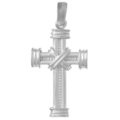 Sterling Silver Beaded Cross Pendant with X Center