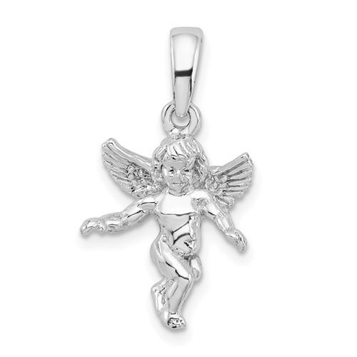 Sterling Silver 3-D Angel Pendant 1/2in