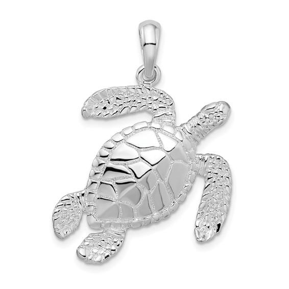 Sterling Silver 1in Swimming Sea Turtle Pendant