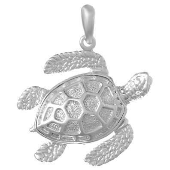 Sterling Silver 7/8in 3-D Sea Turtle Pendant