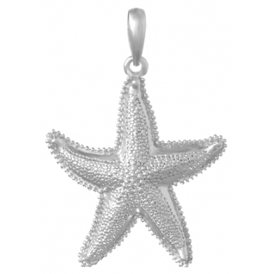 Sterling Silver 1 3/8in Textured Starfish Pendant