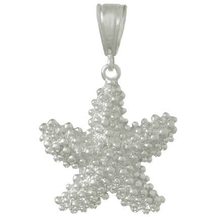 Sterling Silver 1in Beaded Puffy Starfish Pendant