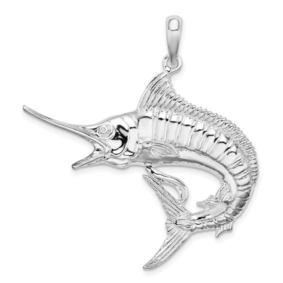 Sterling Silver 1 1/2in Swordfish Pendant
