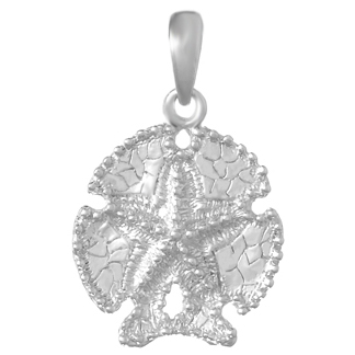 Sterling Silver 5/8in Sand Dollar with Starfish Pendant